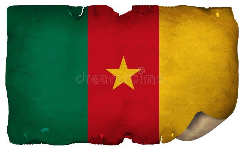 Kamerunaflagge auf altem Papier stockfotografie