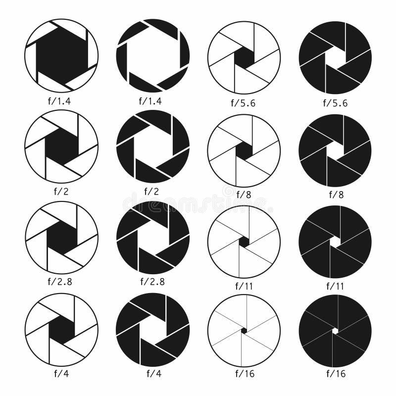 Kamery żaluzi apertury ikony ustawiać Monochromatyczni diagramy inkasowi royalty ilustracja