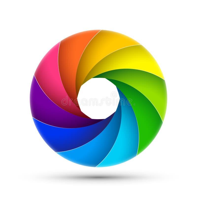 Kamery żaluzi fotografii ikony apertura Ostrość obiektywu wektorowego kolorowego zoomu cyfrowy projekt royalty ilustracja