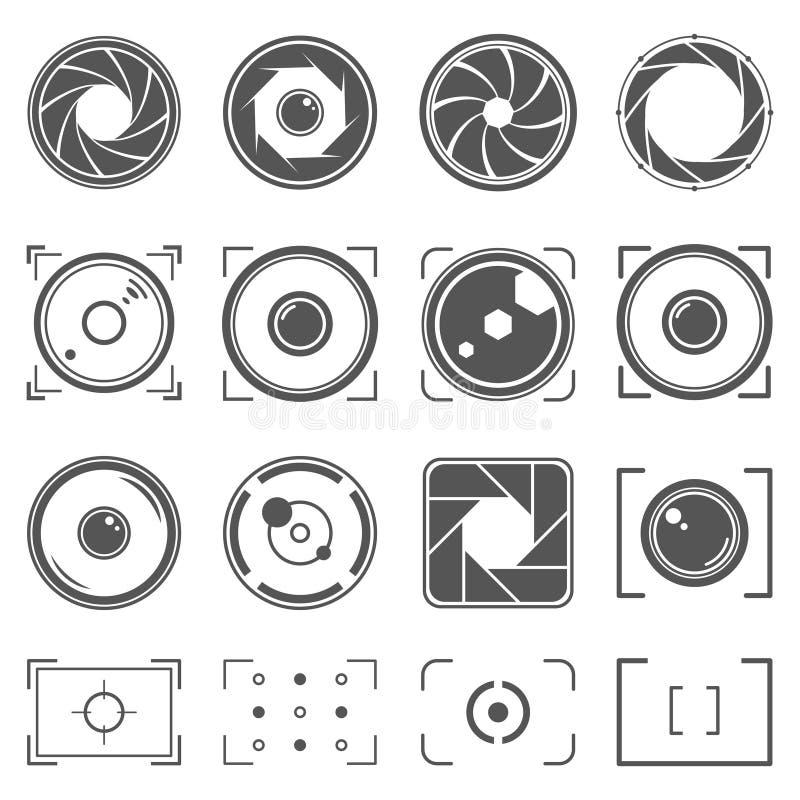 Kamery żaluzja, obiektywy i fotografii kamery elementy ustawiający, Apertury i fotografii ilustracja Set fotografii pojęcie royalty ilustracja