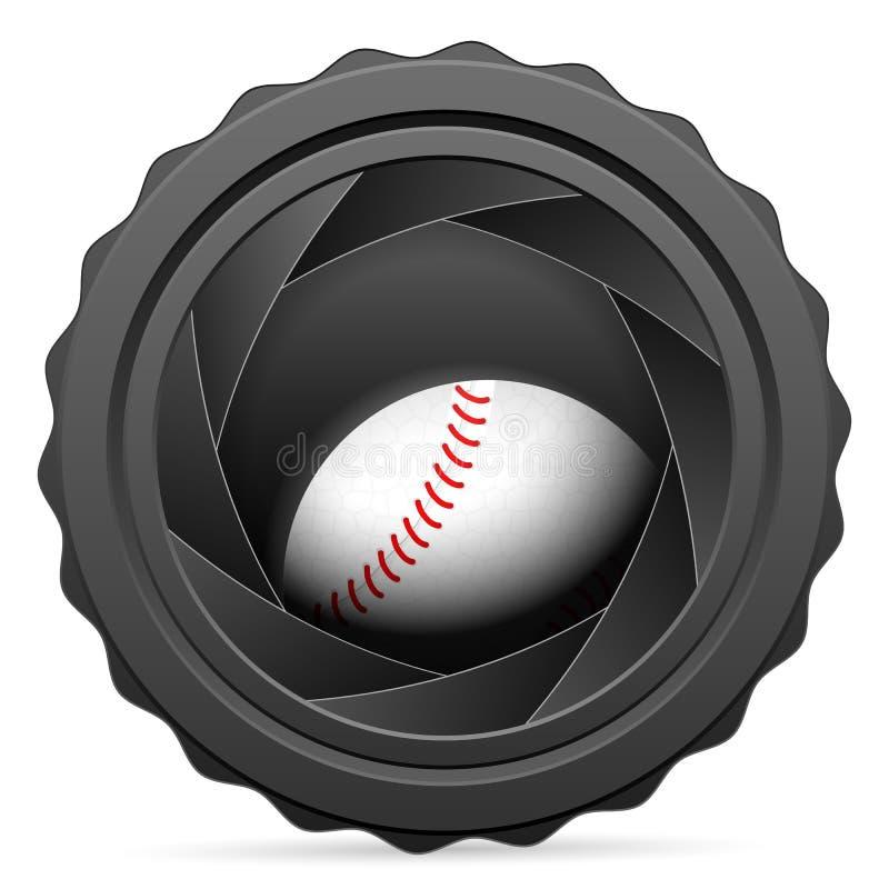 Kamery żaluzja z baseball piłką ilustracja wektor