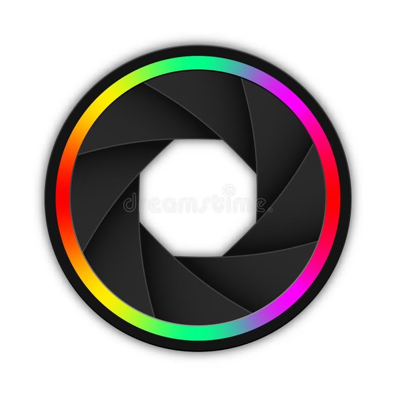 Kamery apertury, ?aluzji lub obiektywu ikona, Wektorowa ilustracja z mi?kkim cieniem ilustracji