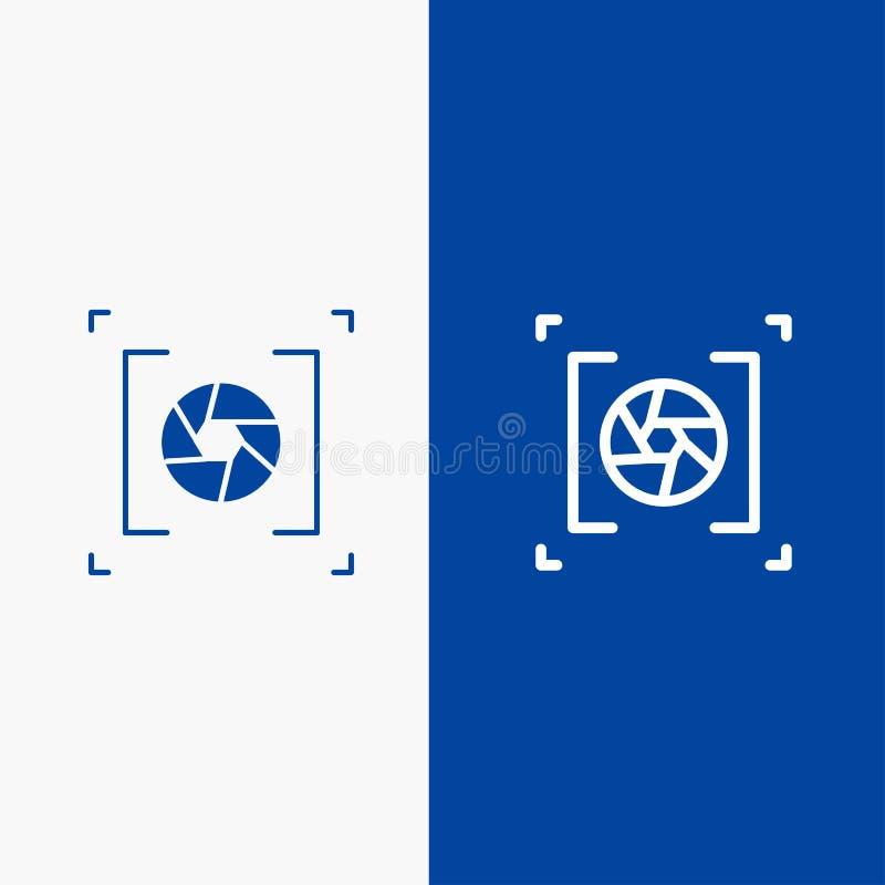 Kamery, apertury, obiektywu, fotografii linii i glifu Stałej ikony sztandaru glifu, Błękitnej ikony błękita Stały sztandar royalty ilustracja