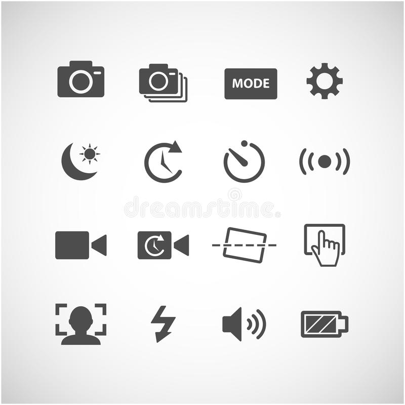 Kamery app ikony set, wektor eps10 royalty ilustracja