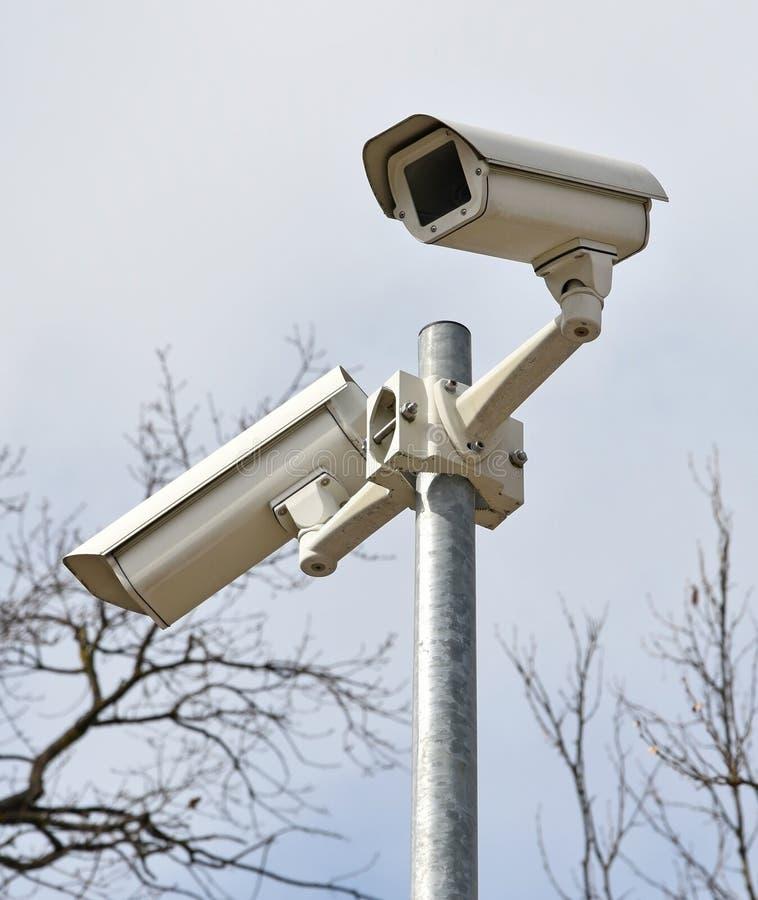 Kamery bezpieczeństwa na słupie obrazy stock