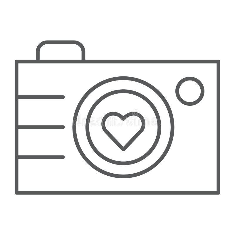 Kamery cienka kreskowa ikona, fotografia i miłość, miłości fotografii znak, wektorowe grafika, liniowy wzór na białym tle ilustracji