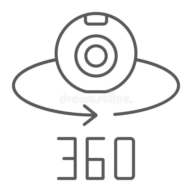Kamery 360 cienka kreskowa ikona, przyrząd i obracanie, panoramiczny kamera znak, wektorowe grafika, liniowy wzór na bielu royalty ilustracja