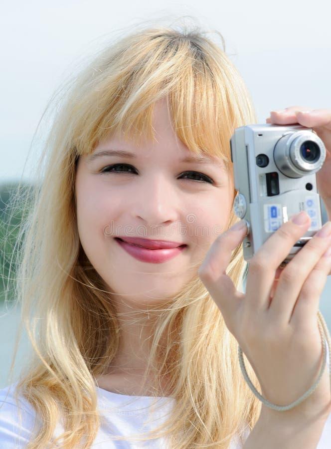 kamery dziewczyna fotografia stock