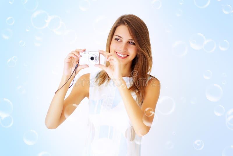 kamery dziewczyny mienie fotografia stock