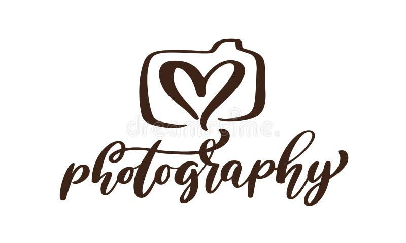 Kamery fotografii loga ikony wektorowego szablonu fotografii kaligraficzny wpisowy tekst Odizolowywający na białym tle ilustracji