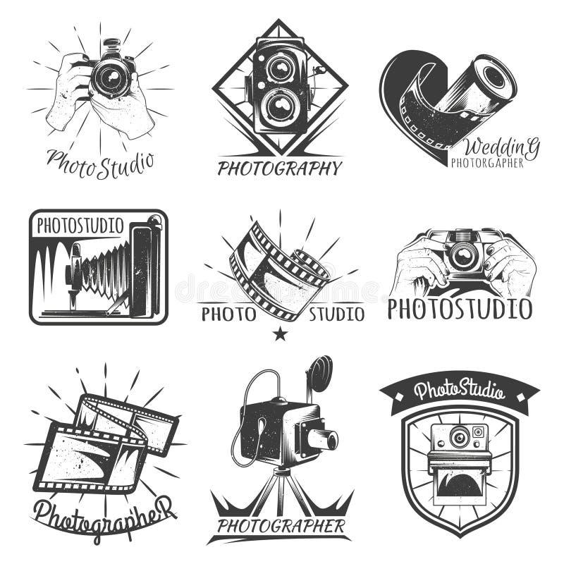 Kamery fotografii rocznika fotografii logo, retro pojęcie ilustracja wektor