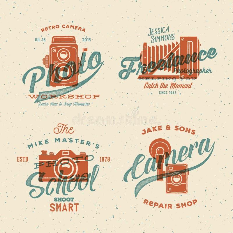 Kamery fotografii wektoru logowie z lub etykietki ilustracja wektor