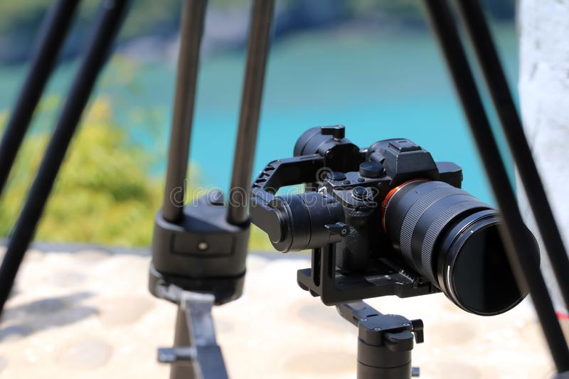 Kamery Gimbal stabilizator na górze góry fotografia royalty free