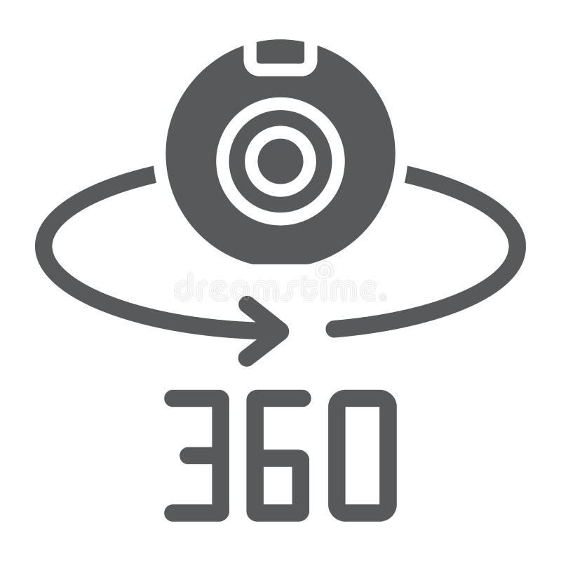 Kamery 360 glifu ikona, przyrząd i obracanie, panoramiczny kamera znak, wektorowe grafika, bryła wzór na bielu royalty ilustracja