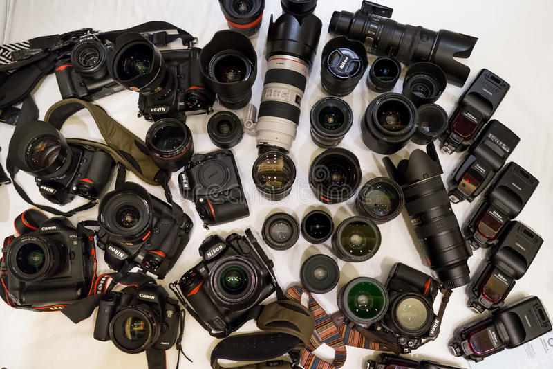 Kamery i obiektywy fotografia stock