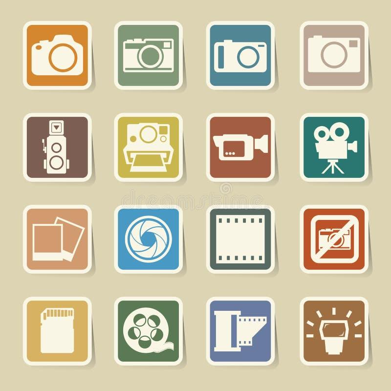 Kamery i wideo majcheru ikony ustawiać royalty ilustracja