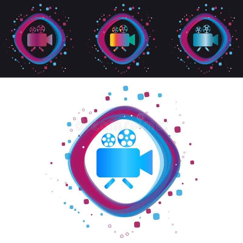 Kamery ikona Odizolowywająca Na Czarny I Biały tle - Nowożytna Kolorowa Wektorowa ilustracja - ilustracji