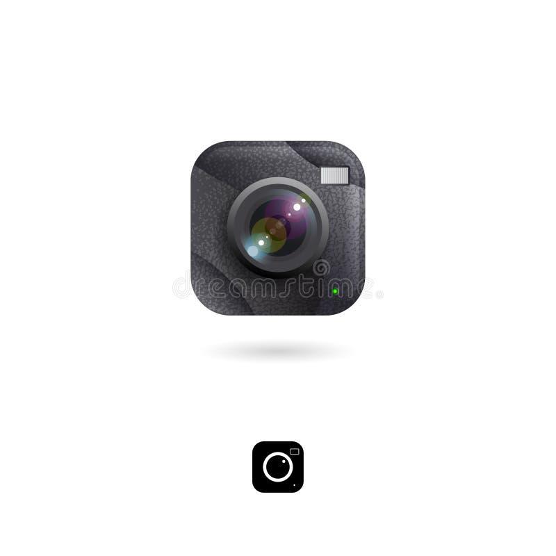 Kamery ikona, UI Fotografia magazyn lub fotografii biblioteki emblemat Galerii zdjęć ikony Zaokrąglony kwadratowy symbol z cienie ilustracji