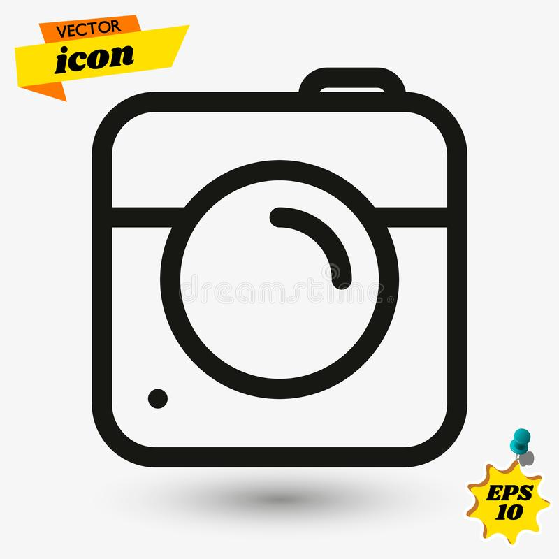 Kamery ikona w modnym mieszkanie stylu odizolowywaj?cym na popielatym tle Kamera symbol dla tw?j strona internetowa projekta, log obraz royalty free