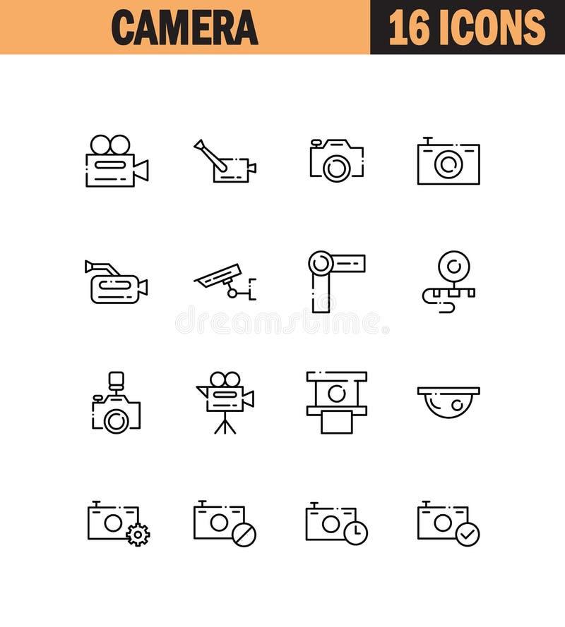 Kamery ikony set royalty ilustracja