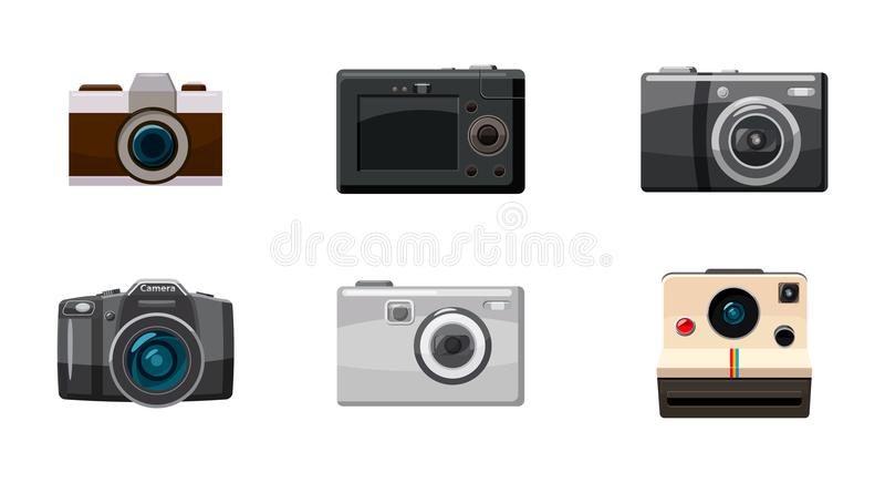 Kamery ikony set, kreskówka styl royalty ilustracja