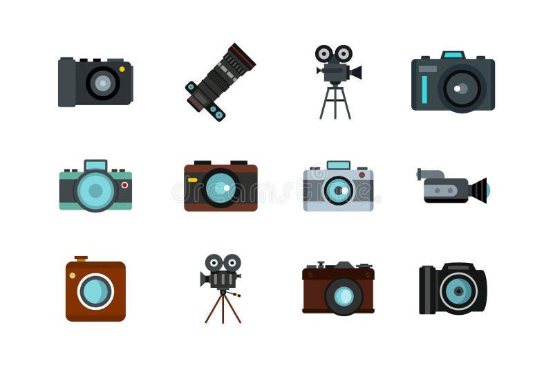 Kamery ikony set, mieszkanie styl ilustracji