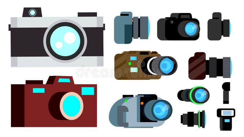 Kamery ikony Ustalony wektor Retro, rocznik, Nowożytny fotografii kamery symbol Odosobniona kreskówki ilustracja ilustracja wektor