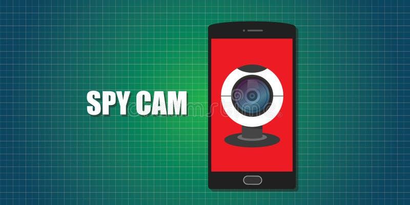 Kamery internetowej sieci krzywka telefonu smartphone szpieg ilustracja wektor