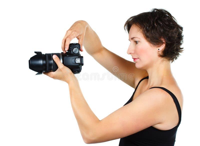 kamery kobiety potomstwa fotografia royalty free