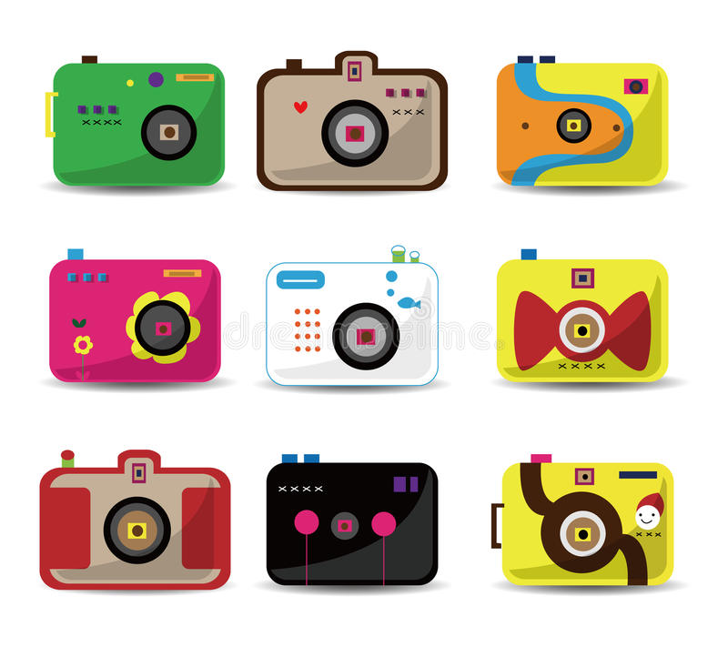 kamery kreskówki ikony set ilustracji
