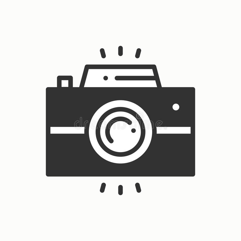Kamery linii konturu ikona Fotografii kamera, fotografia gadżet, natychmiastowa fotografia Zdjęcie fotografii znak Wektorowy pros royalty ilustracja