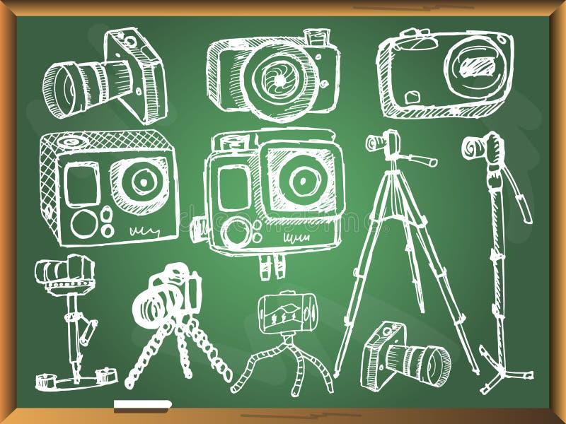 Kamery na chalkboard tle royalty ilustracja