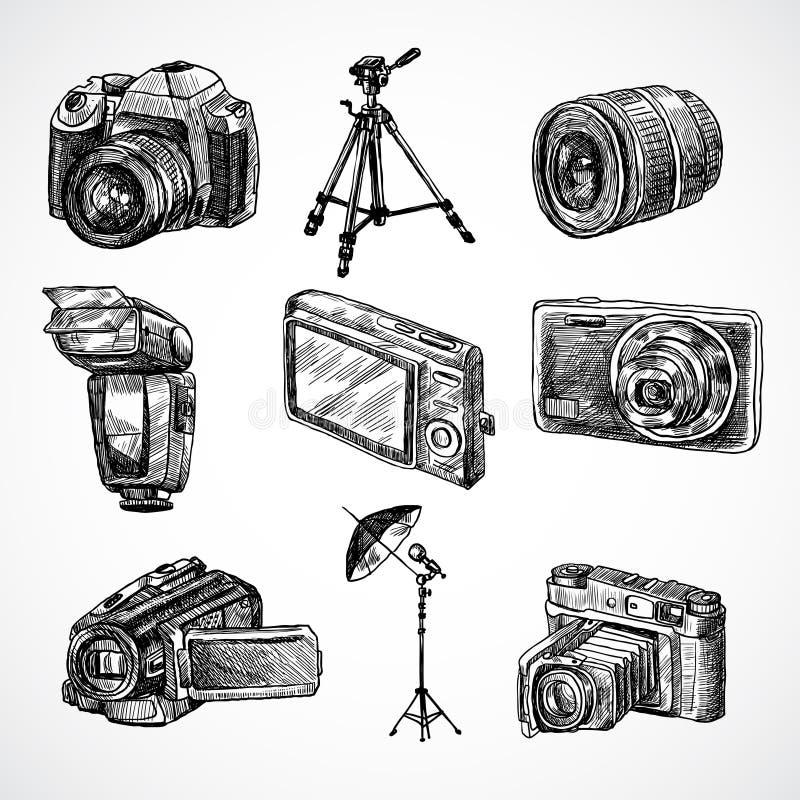 Kamery nakreślenia ikony ustawiać ilustracji