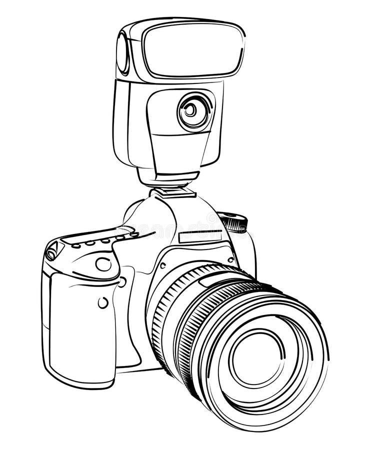 Kamery nakreślenie ilustracji