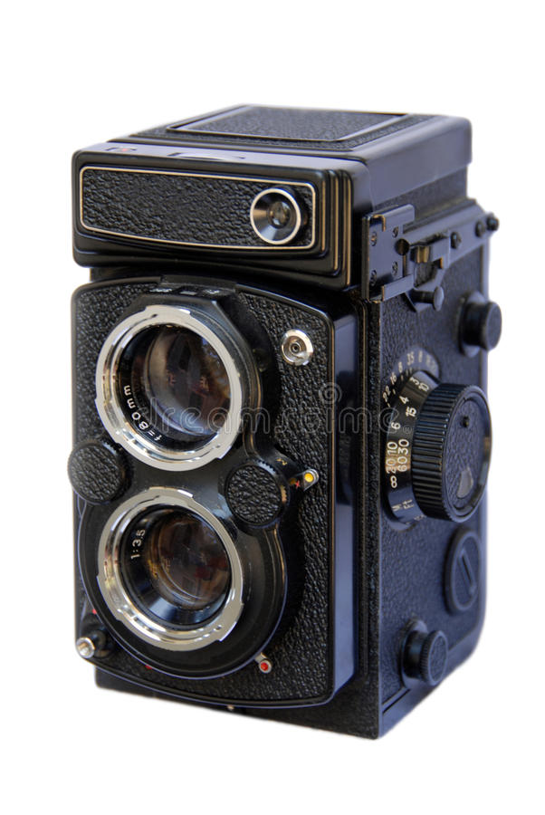 kamery obiektywu refleksowy bliźniaczy biel obrazy stock