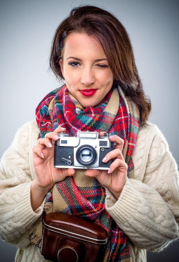 kamery rocznika kobiety potomstwa obraz stock