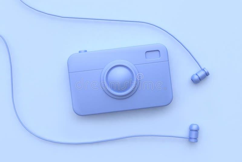 kamery słuchawka 3d odpłaca się technologii pojęcia fiołka wszystkie przedmiota abstrakta scena ilustracji