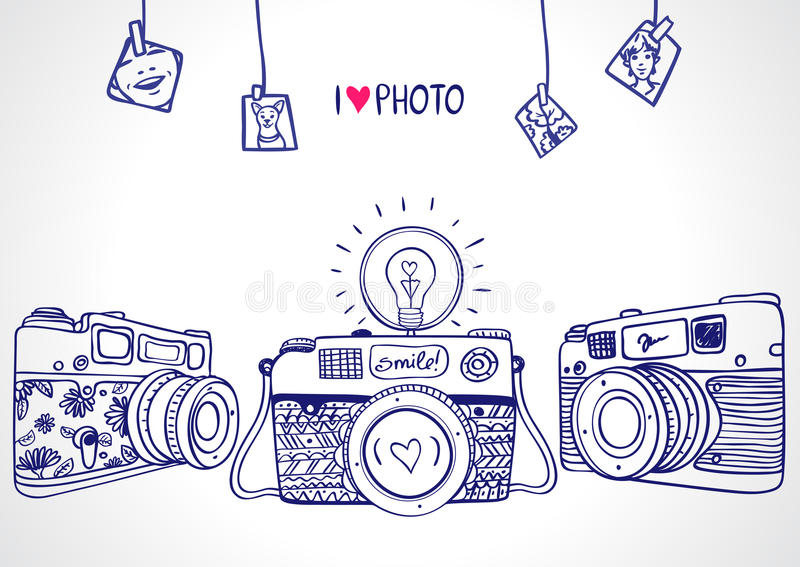 Kamery sylwetka ilustracja wektor