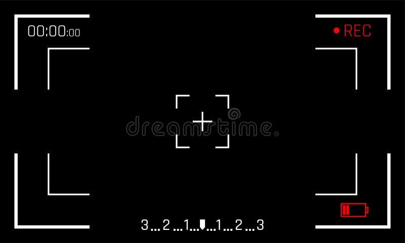 Kamery viewfinder ramowego ekranu wektorowy czarny backgroud kamera video cyfrowy pokaz ilustracji