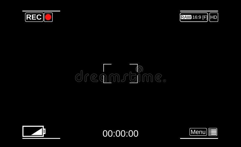 Kamery viewfinder Szablonu ogniskowania ekran kamera ilustracja wektor
