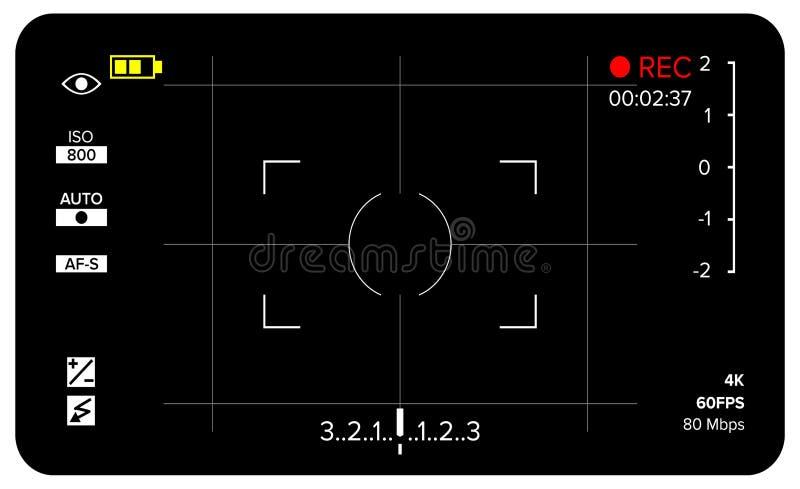 Kamery Viewfinder wektor Nowożytny kamery ogniskowania ekran Z położeniami Digital, DSLR Kamery Magnetofonowa ilustracja ilustracji