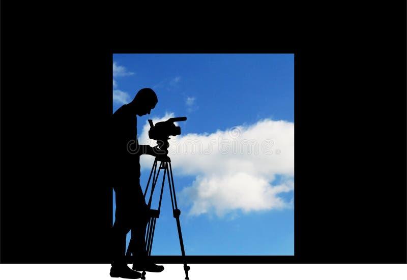 kamerzysta ekranizaci niebo royalty ilustracja