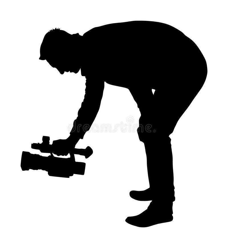 Kamerzysta sylwetka z kamera wideo na koncercie, wydarzenie sportowe, na tle Wiadomo?? dnia w studiu ilustracji