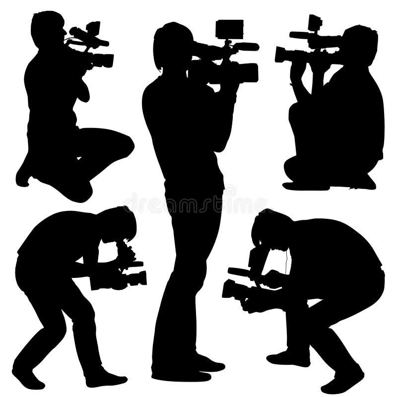Kamerzysta z kamera wideo. Sylwetki na bielu ilustracji