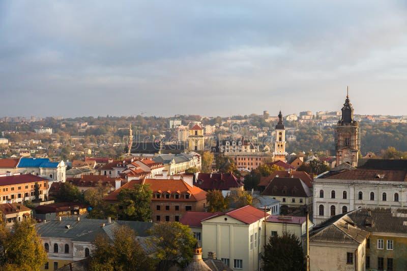 Kamianets-Podilsky看法从上面 免版税库存图片