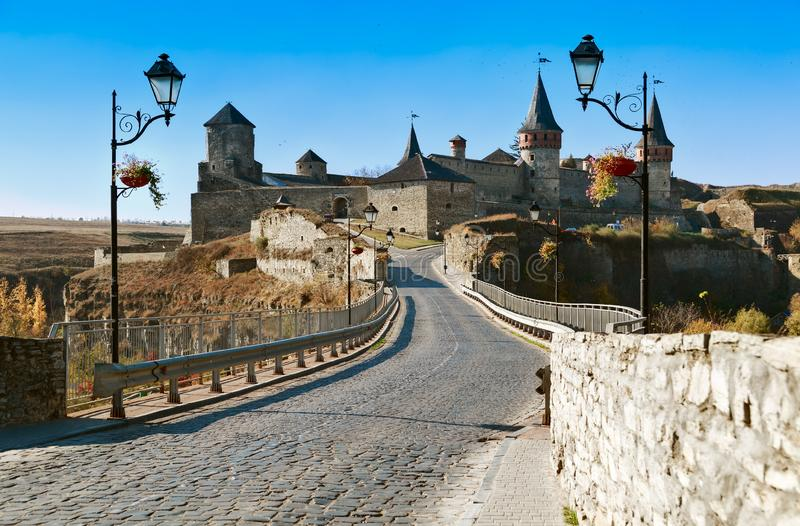 Kamianets-Podilsky famous fortress. KAMIANETS-PODILSKY, UKRAINE - OCTOBER 17, 2018: View of Kamianets-Podilsky famous ancient fortress from the bridge in the royalty free stock photography