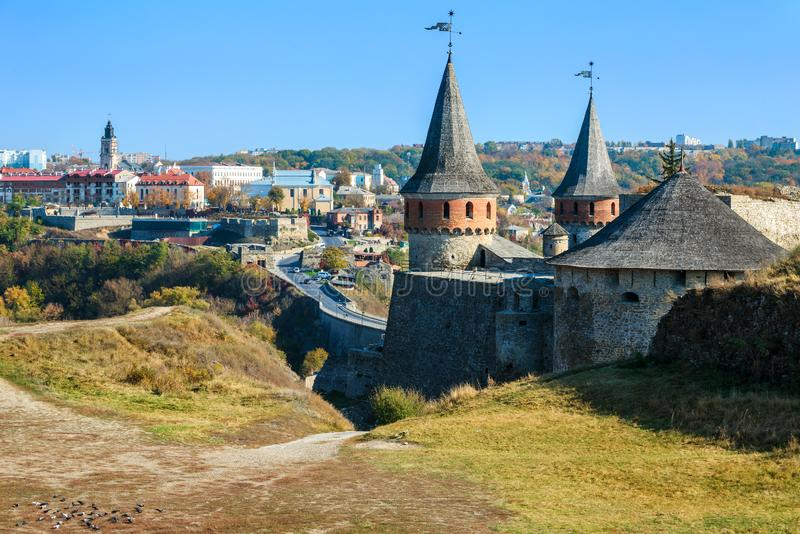 Kamianets-Podilsky famous fortress. KAMIANETS-PODILSKY, UKRAINE - OCTOBER 17, 2018: View of Kamianets-Podilsky famous ancient fortress and part of the town in stock photography