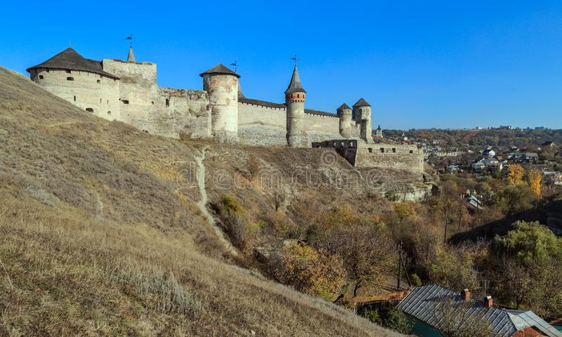 Kamianets-Podilsky fortress. View of Kamianets-Podilsky famous ancient fortress and part of the town in the autumn, Ukraine royalty free stock photo