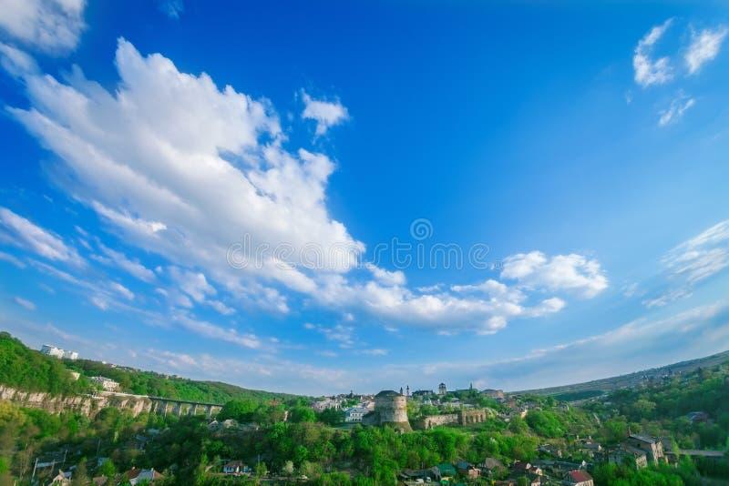 Kamianets Podilskyi都市风景 免版税库存照片