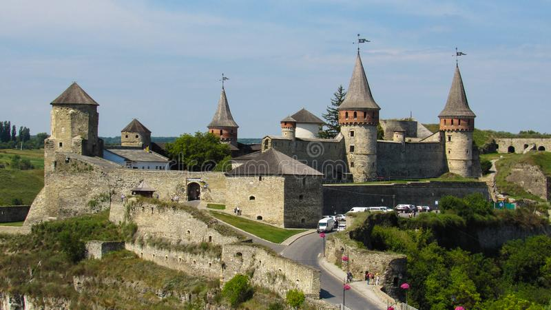 Kamianets-Podilskyi castle is a former Ruthenian-Lithuanian  castle and a later three-part Polish fortress. 07.08.2019 stock photos